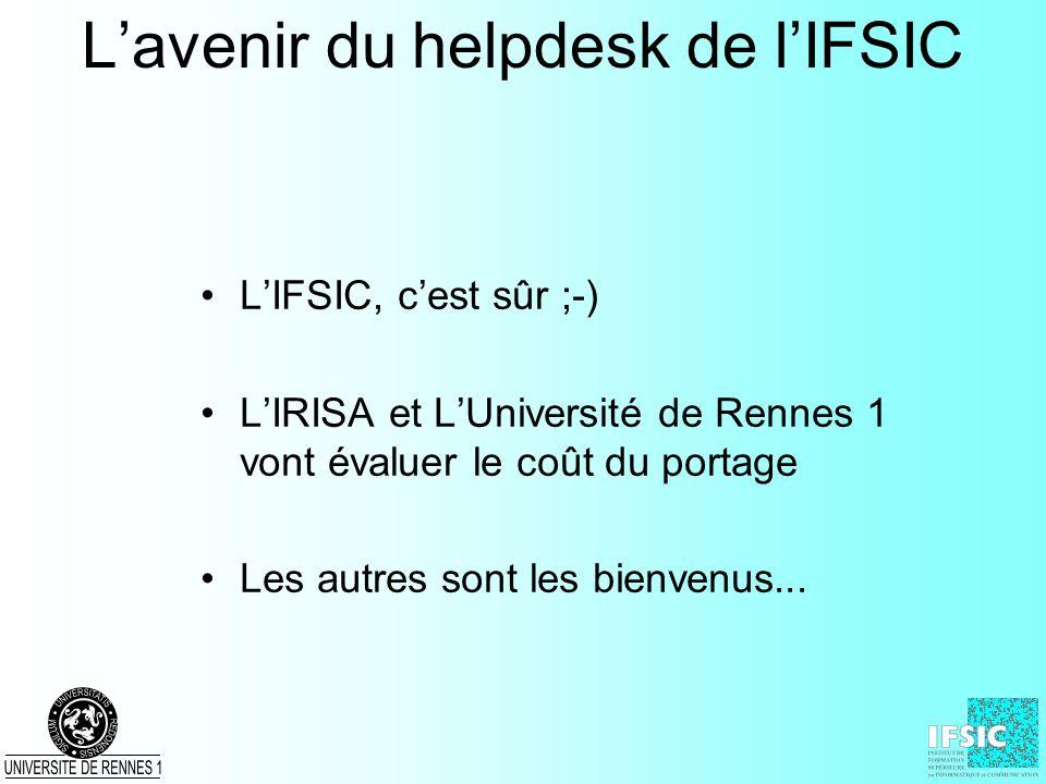 Lavenir du helpdesk de lIFSIC LIFSIC, cest sûr ;-) LIRISA et LUniversité de Rennes 1 vont évaluer le coût du portage Les autres sont les bienvenus...