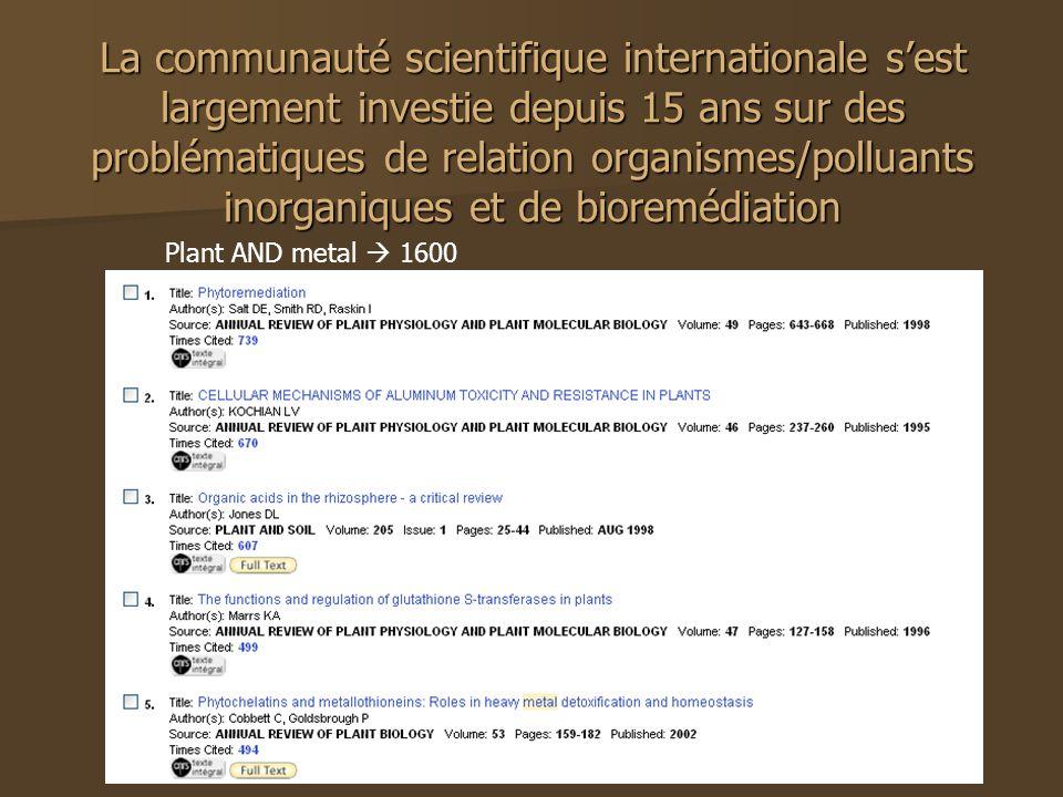 La communauté scientifique internationale sest largement investie depuis 15 ans sur des problématiques de relation organismes/polluants inorganiques e