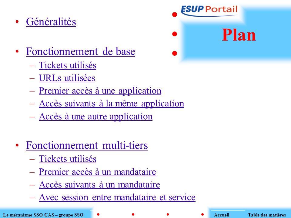 Généralités Fonctionnement de base –Tickets utilisésTickets utilisés –URLs utiliséesURLs utilisées –Premier accès à une applicationPremier accès à une