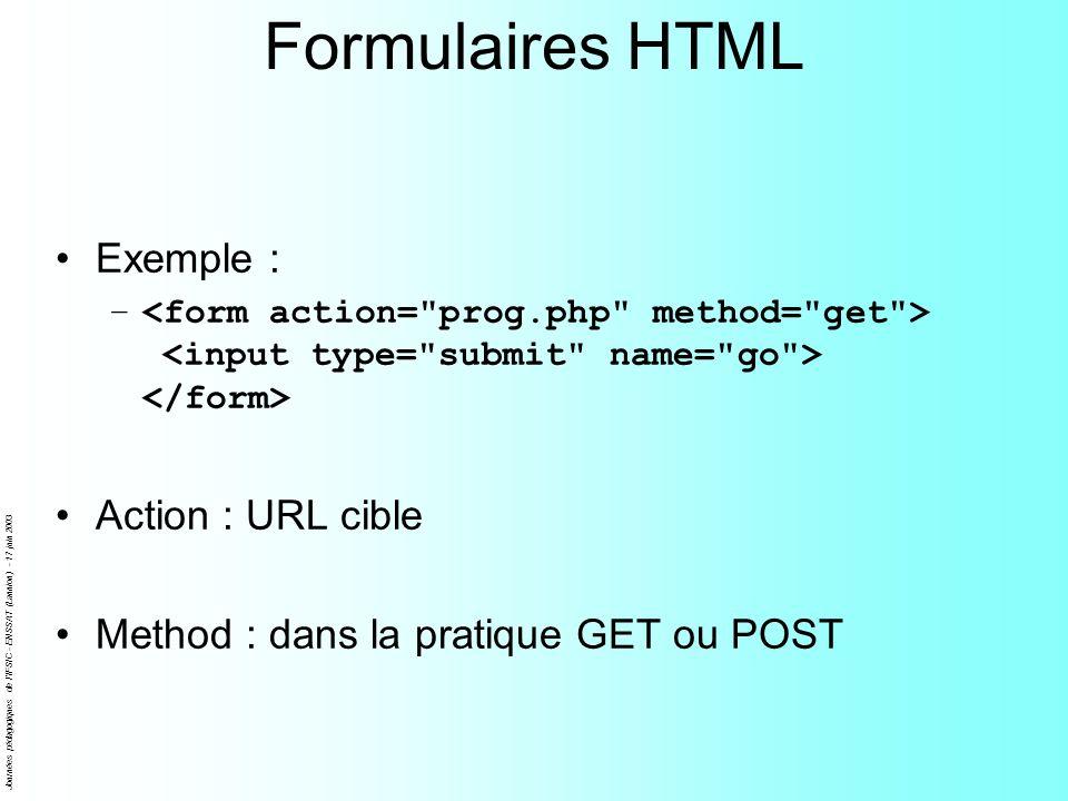 Journées pédagogiques de l'IFSIC - ENSSAT (Lannion) - 17 juin 2003 Formulaires HTML Exemple : – Action : URL cible Method : dans la pratique GET ou PO