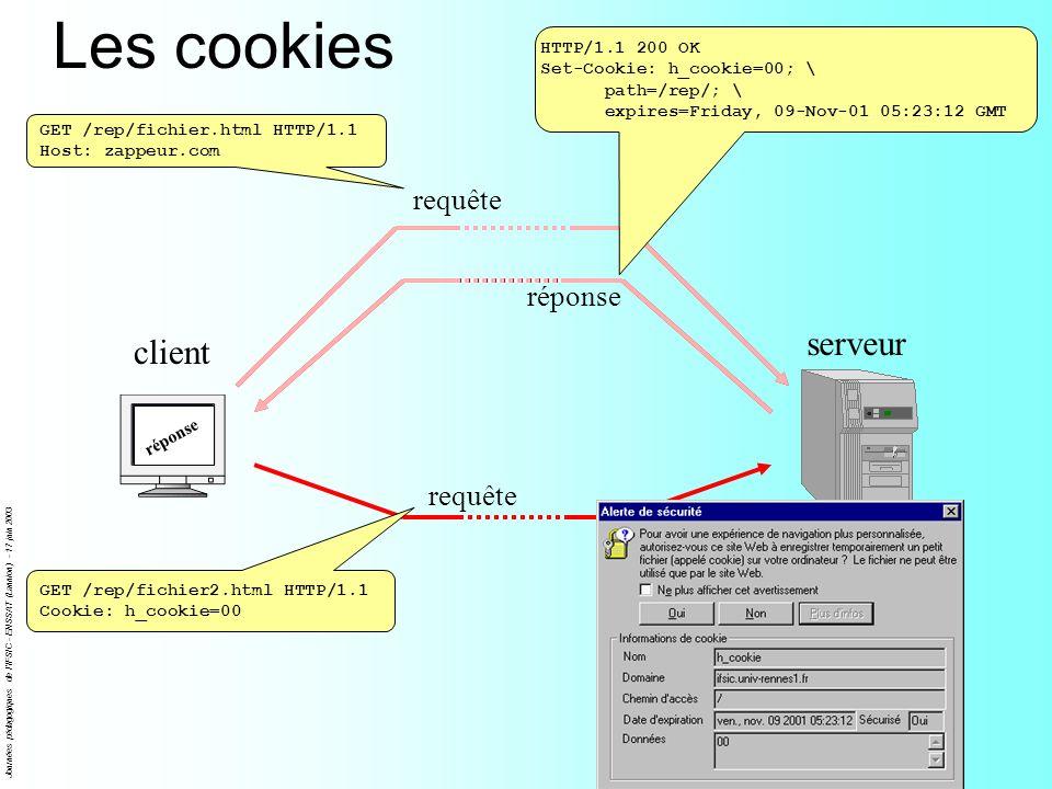 Journées pédagogiques de l'IFSIC - ENSSAT (Lannion) - 17 juin 2003 Les cookies client serveur requête réponse GET /rep/fichier.html HTTP/1.1 Host: zap