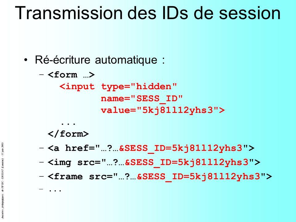 Journées pédagogiques de l'IFSIC - ENSSAT (Lannion) - 17 juin 2003 Transmission des IDs de session Ré-écriture automatique : –... – –...