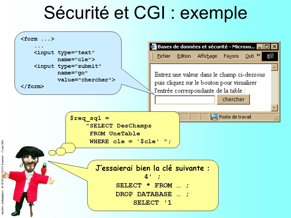 Journées pédagogiques de l'IFSIC - ENSSAT (Lannion) - 17 juin 2003 Sécurité et CGI : exemple... $req_sql =