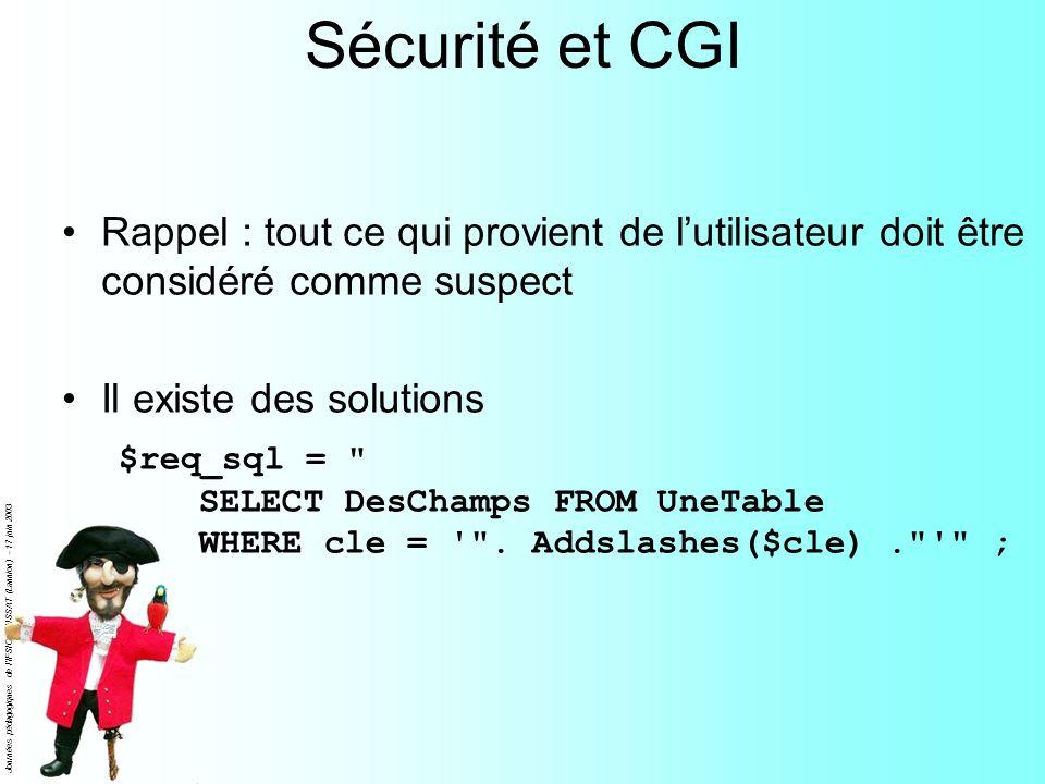 Journées pédagogiques de l'IFSIC - ENSSAT (Lannion) - 17 juin 2003 Sécurité et CGI Rappel : tout ce qui provient de lutilisateur doit être considéré c