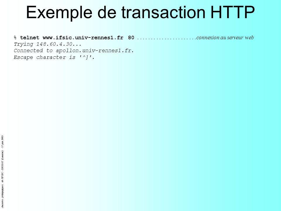Journées pédagogiques de l IFSIC - ENSSAT (Lannion) - 17 juin 2003 Exemple de transaction HTTP % telnet www.ifsic.univ-rennes1.fr 80......................connexion au serveur web Trying 148.60.4.30...