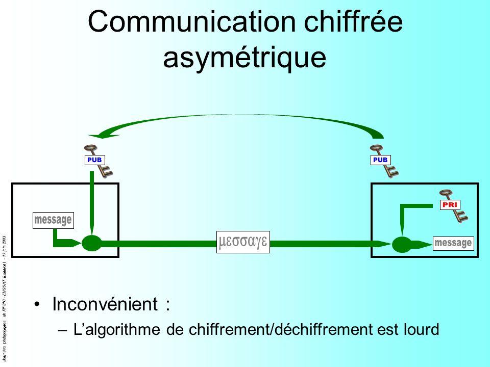 Journées pédagogiques de l'IFSIC - ENSSAT (Lannion) - 17 juin 2003 Communication chiffrée asymétrique Inconvénient : –Lalgorithme de chiffrement/déchi