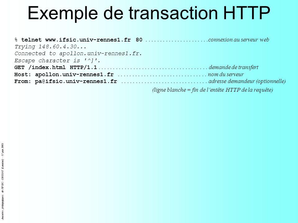 Journées pédagogiques de l'IFSIC - ENSSAT (Lannion) - 17 juin 2003 Exemple de transaction HTTP % telnet www.ifsic.univ-rennes1.fr 80..................