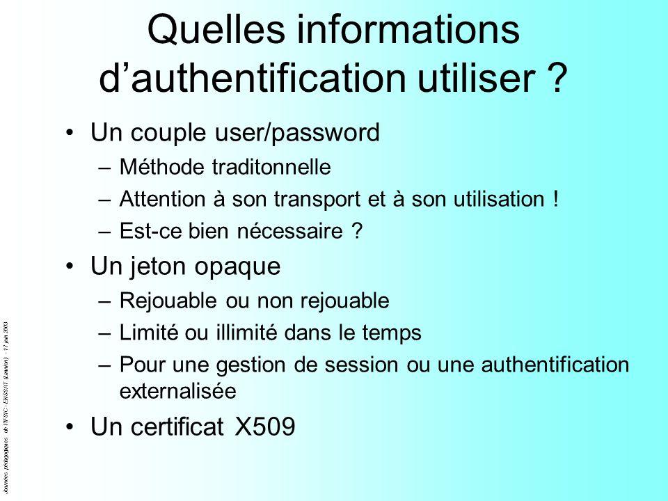 Journées pédagogiques de l'IFSIC - ENSSAT (Lannion) - 17 juin 2003 Quelles informations dauthentification utiliser ? Un couple user/password –Méthode