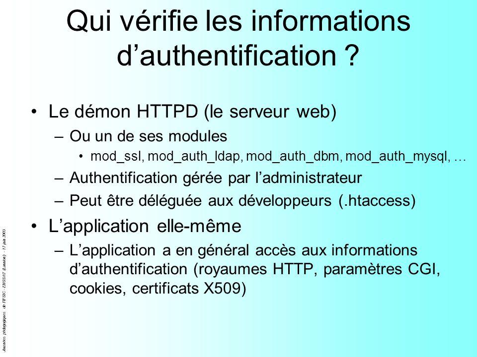 Journées pédagogiques de l'IFSIC - ENSSAT (Lannion) - 17 juin 2003 Qui vérifie les informations dauthentification ? Le démon HTTPD (le serveur web) –O