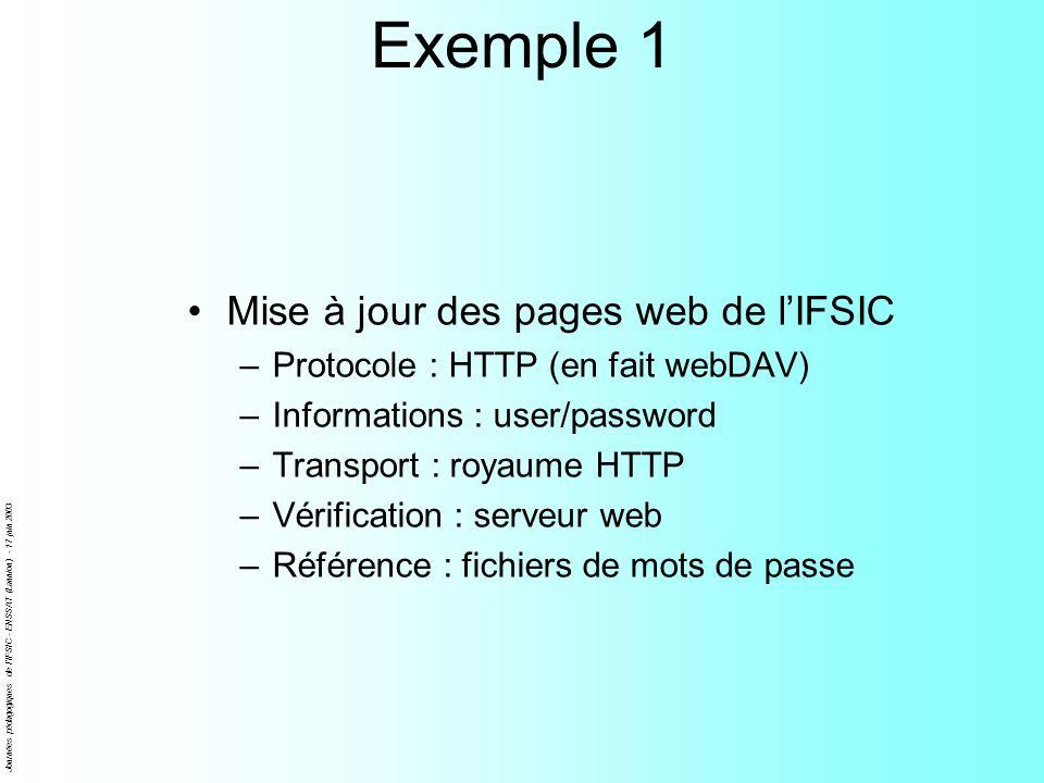 Journées pédagogiques de l'IFSIC - ENSSAT (Lannion) - 17 juin 2003 Exemple 1 Mise à jour des pages web de lIFSIC –Protocole : HTTP (en fait webDAV) –I