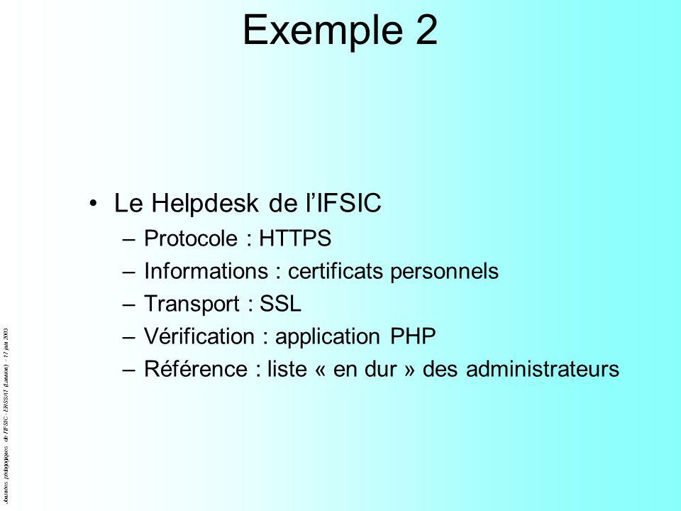 Journées pédagogiques de l'IFSIC - ENSSAT (Lannion) - 17 juin 2003 Exemple 2 Le Helpdesk de lIFSIC –Protocole : HTTPS –Informations : certificats pers
