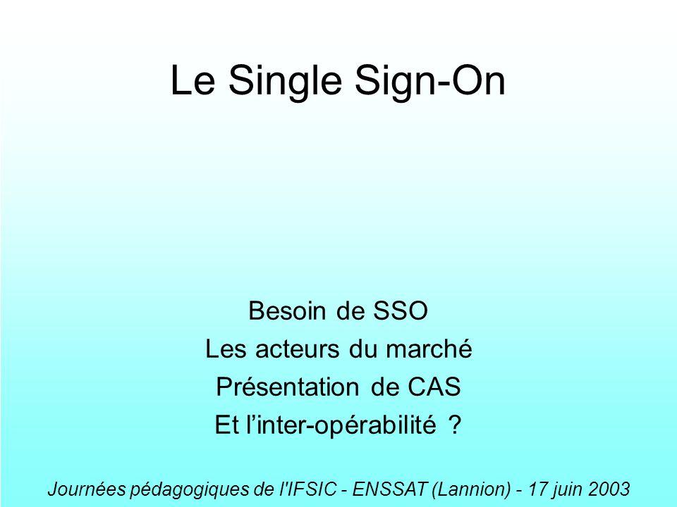 Journées pédagogiques de l'IFSIC - ENSSAT (Lannion) - 17 juin 2003 Le Single Sign-On Besoin de SSO Les acteurs du marché Présentation de CAS Et linter