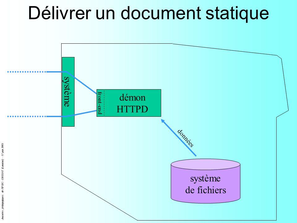 Journées pédagogiques de l'IFSIC - ENSSAT (Lannion) - 17 juin 2003 Délivrer un document statique système de fichiers démon HTTPD front-end données