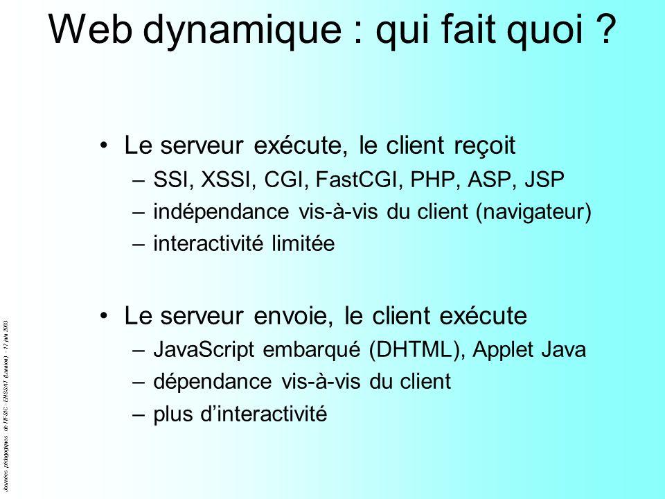 Journées pédagogiques de l'IFSIC - ENSSAT (Lannion) - 17 juin 2003 Web dynamique : qui fait quoi ? Le serveur exécute, le client reçoit –SSI, XSSI, CG