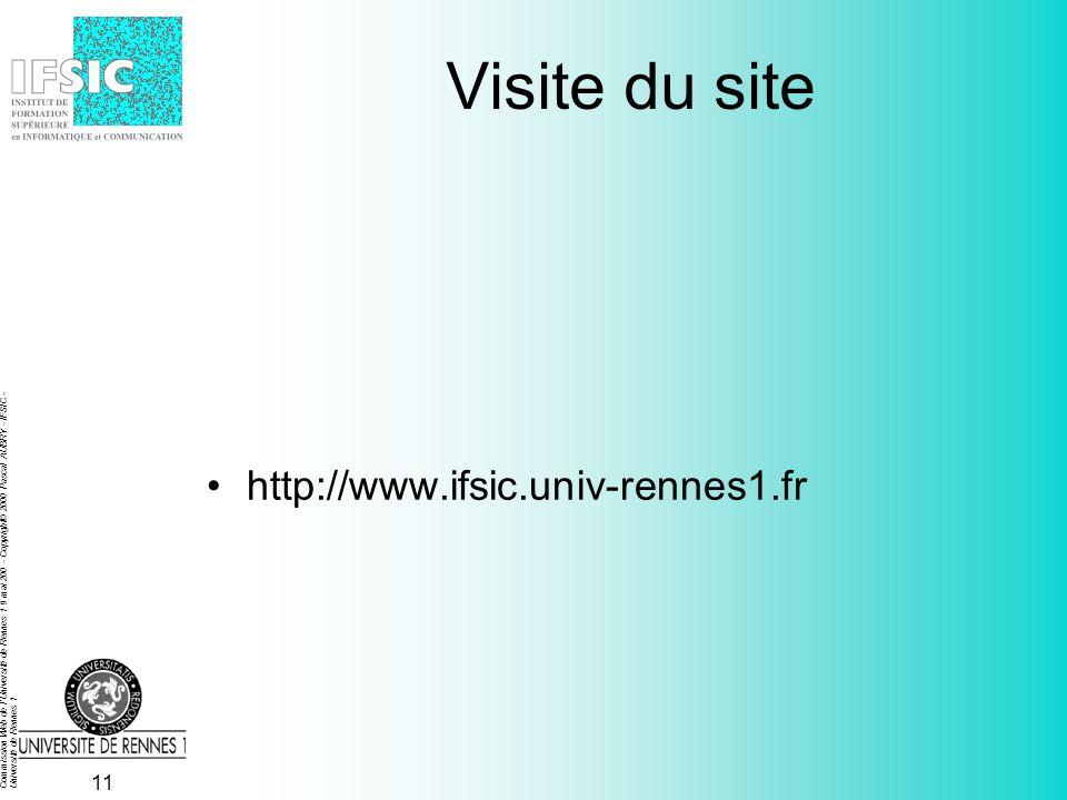 Commission Web de l'Université de Rennes 1 9 mai 200 - Copyright© 2000 Pascal AUBRY - IFSIC - Université de Rennes 1 10 Références http://www.ifsic.un