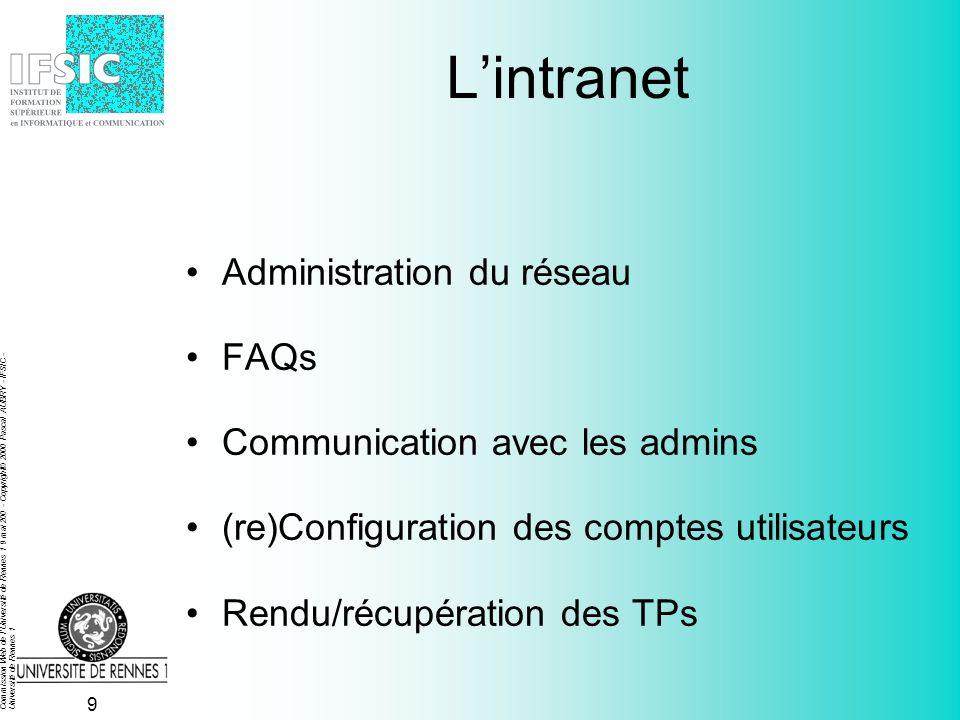 Commission Web de l Université de Rennes 1 9 mai 200 - Copyright© 2000 Pascal AUBRY - IFSIC - Université de Rennes 1 9 Lintranet Administration du réseau FAQs Communication avec les admins (re)Configuration des comptes utilisateurs Rendu/récupération des TPs