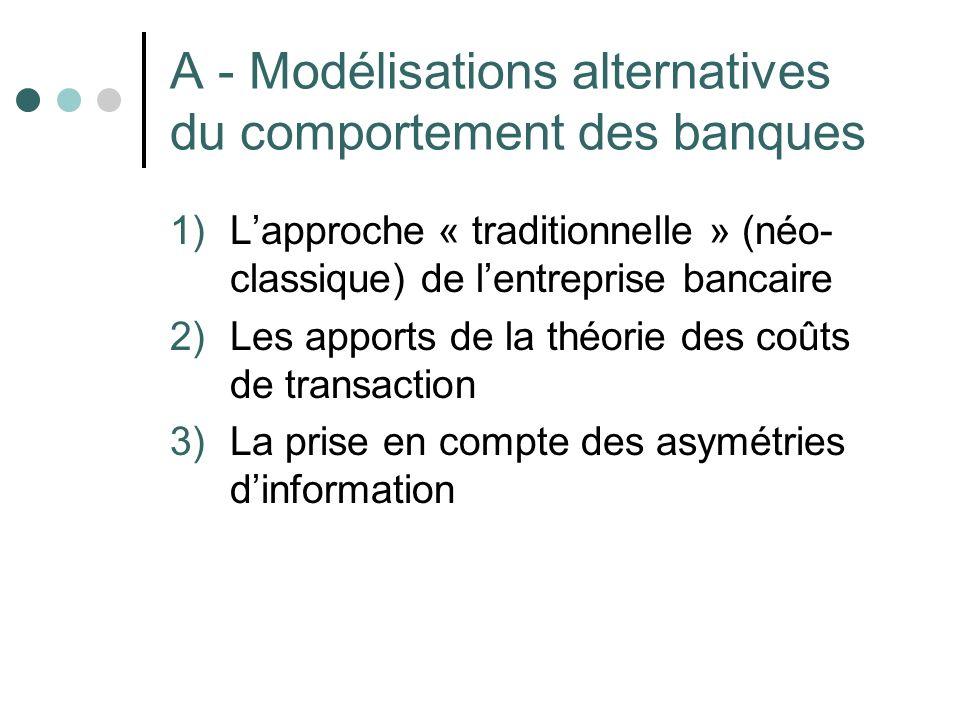 A - Modélisations alternatives du comportement des banques 1)Lapproche « traditionnelle » (néo- classique) de lentreprise bancaire 2)Les apports de la