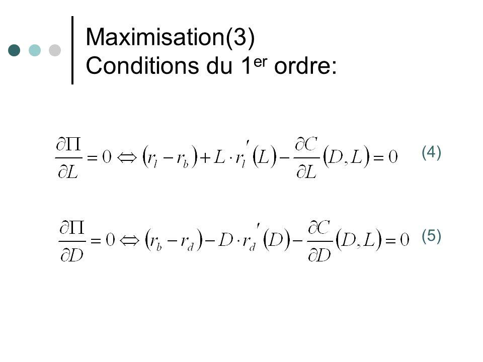 Maximisation(3) Conditions du 1 er ordre: (4) (5)