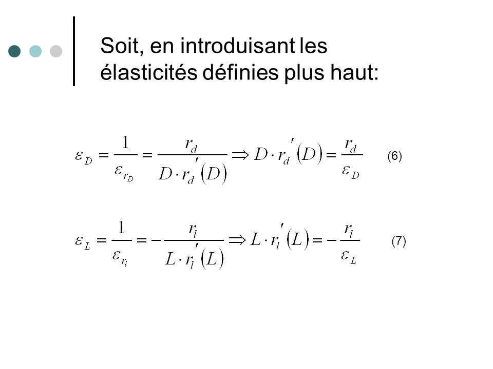Soit, en introduisant les élasticités définies plus haut: (6) (7)