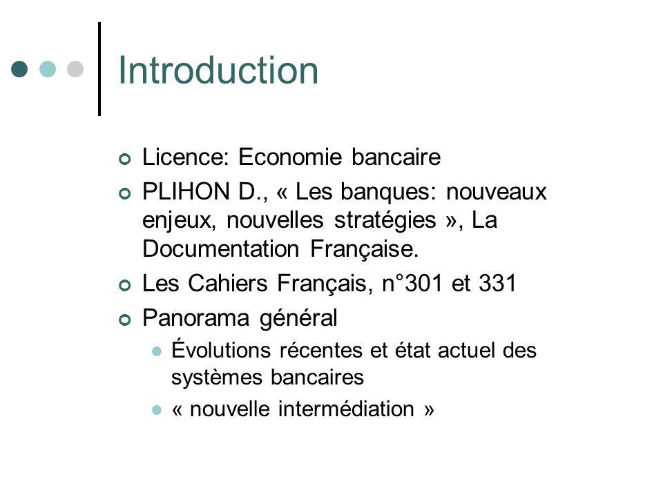 Introduction Licence: Economie bancaire PLIHON D., « Les banques: nouveaux enjeux, nouvelles stratégies », La Documentation Française. Les Cahiers Fra
