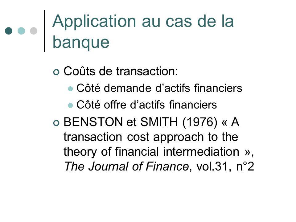 Application au cas de la banque Coûts de transaction: Côté demande dactifs financiers Côté offre dactifs financiers BENSTON et SMITH (1976) « A transa