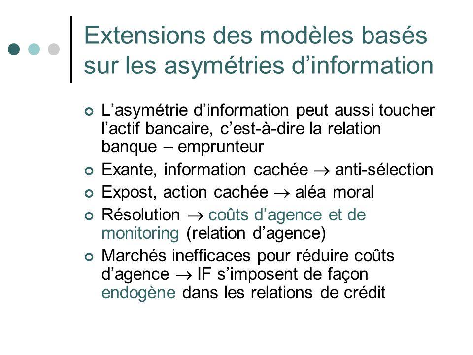 Extensions des modèles basés sur les asymétries dinformation Lasymétrie dinformation peut aussi toucher lactif bancaire, cest-à-dire la relation banqu