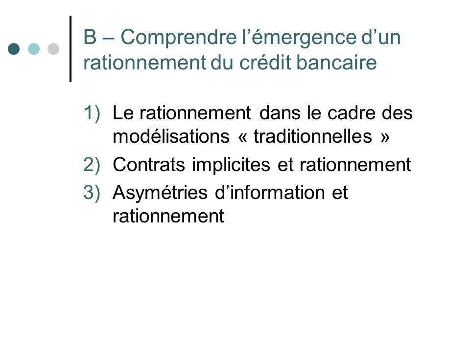 B – Comprendre lémergence dun rationnement du crédit bancaire 1)Le rationnement dans le cadre des modélisations « traditionnelles » 2)Contrats implici