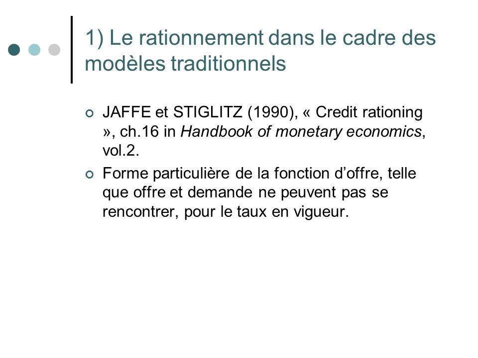1) Le rationnement dans le cadre des modèles traditionnels JAFFE et STIGLITZ (1990), « Credit rationing », ch.16 in Handbook of monetary economics, vo
