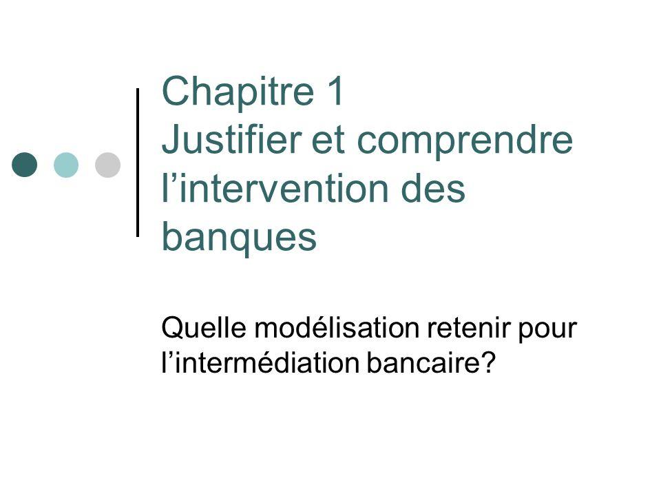 Chapitre 1 Justifier et comprendre lintervention des banques Quelle modélisation retenir pour lintermédiation bancaire?