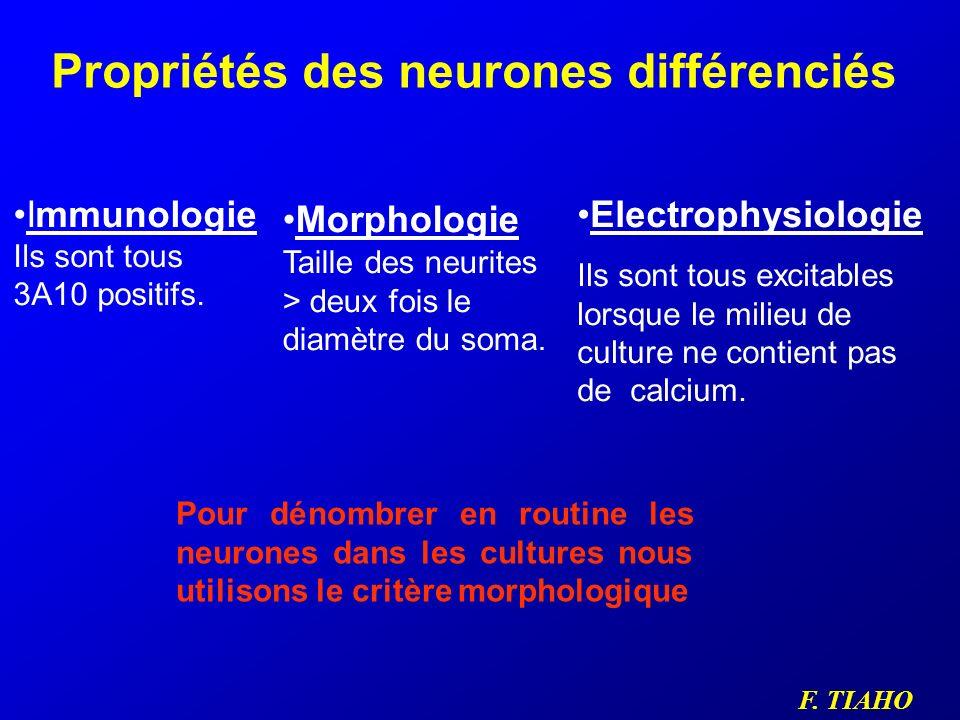 F. TIAHO Propriétés des neurones différenciés Immunologie Ils sont tous 3A10 positifs. Electrophysiologie Ils sont tous excitables lorsque le milieu d