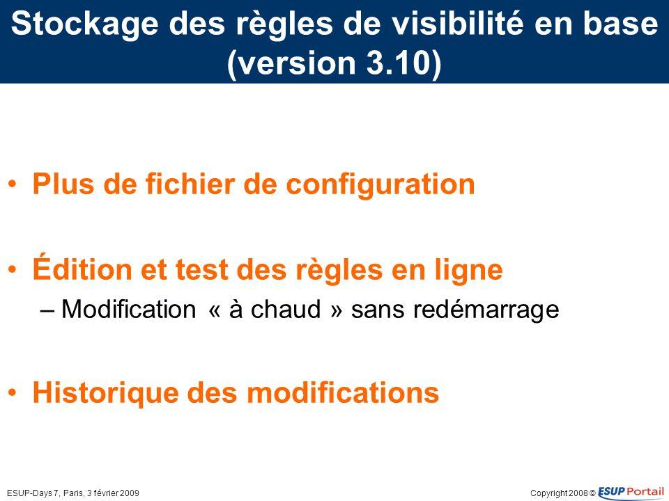Copyright 2008 ©ESUP-Days 7, Paris, 3 février 2009 Stockage des règles de visibilité en base (version 3.10) Plus de fichier de configuration Édition et test des règles en ligne –Modification « à chaud » sans redémarrage Historique des modifications