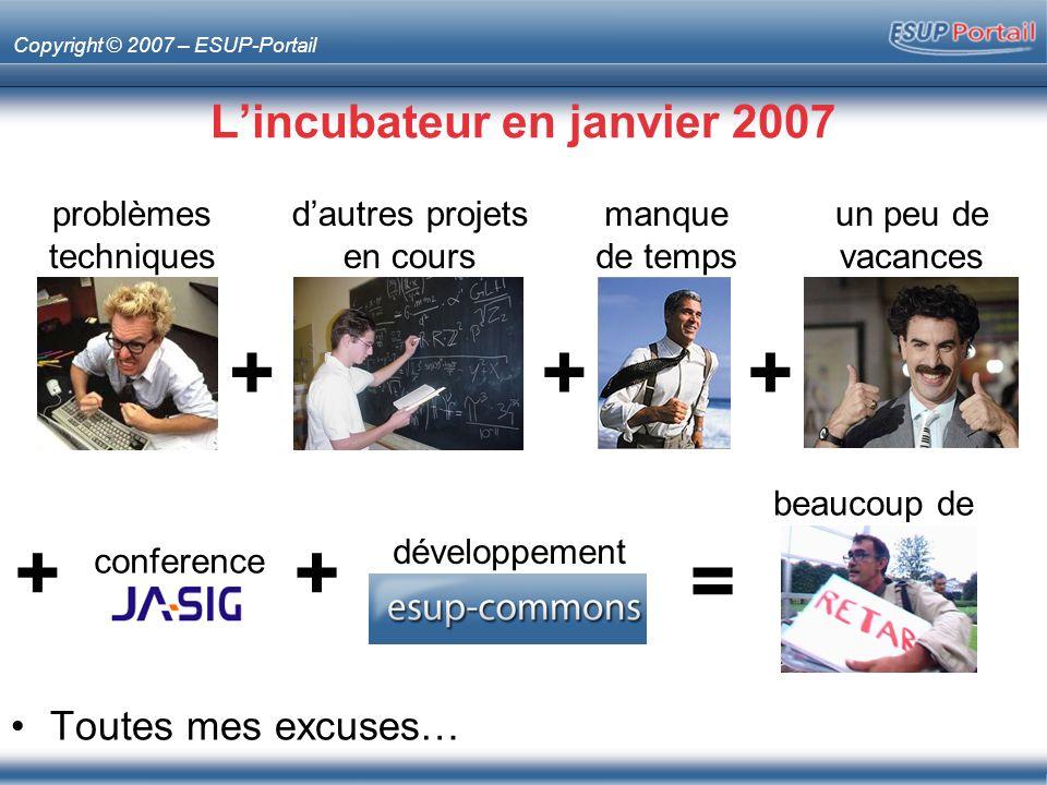 Copyright © 2007 – ESUP-Portail Lincubateur en janvier 2007 Toutes mes excuses… problèmes techniques dautres projets en cours manque de temps un peu de vacances +++ = beaucoup de + conference + développement