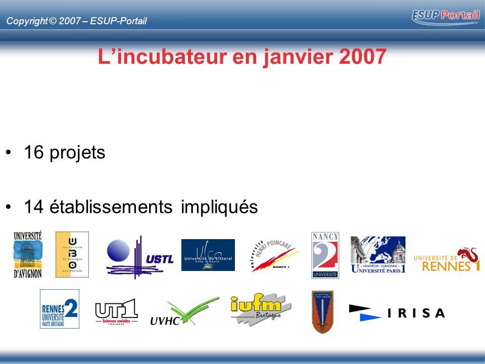 Copyright © 2007 – ESUP-Portail Lincubateur en janvier 2007 16 projets 14 établissements impliqués