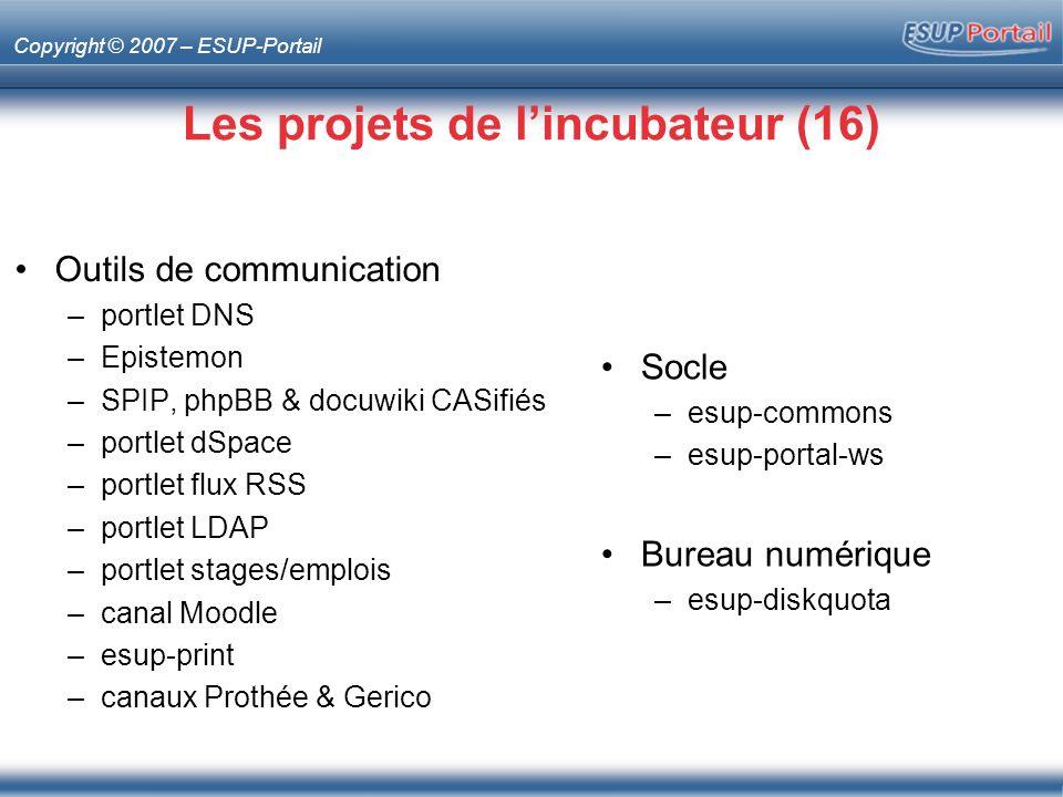Copyright © 2007 – ESUP-Portail Portlet DNS Description –Gestion des enregistrements et aliases DNS –Branché sur la base de WebDNS (CRC Osiris Strasbourg) Mainteneur –Mathieu Larchet, Université de Nancy 2
