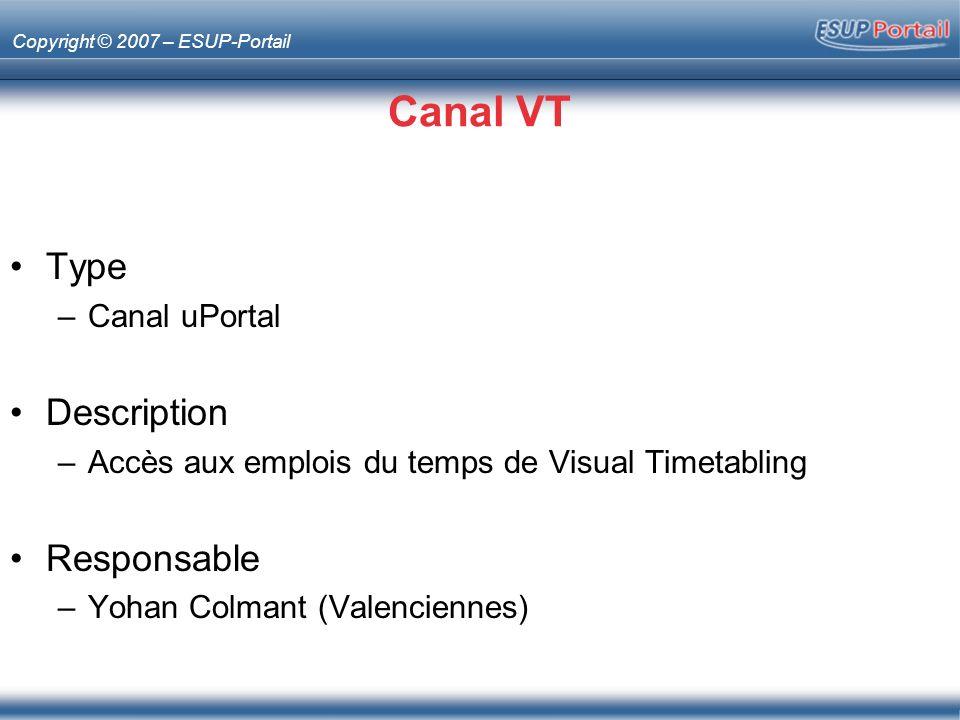 Copyright © 2007 – ESUP-Portail Canal VT Type –Canal uPortal Description –Accès aux emplois du temps de Visual Timetabling Responsable –Yohan Colmant