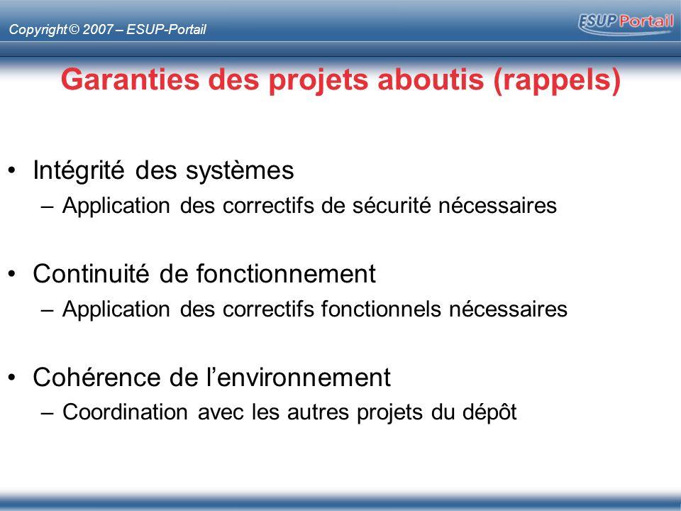 Copyright © 2007 – ESUP-Portail Garanties des projets aboutis (rappels) Intégrité des systèmes –Application des correctifs de sécurité nécessaires Con