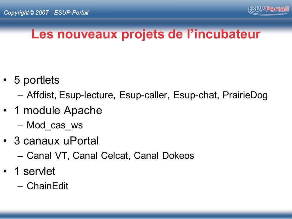 Copyright © 2007 – ESUP-Portail Les nouveaux projets de lincubateur 5 portlets –Affdist, Esup-lecture, Esup-caller, Esup-chat, PrairieDog 1 module Apa
