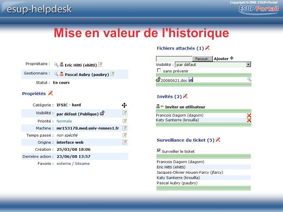 Copyright © 2008 ESUP-Portail Mise en valeur de l historique