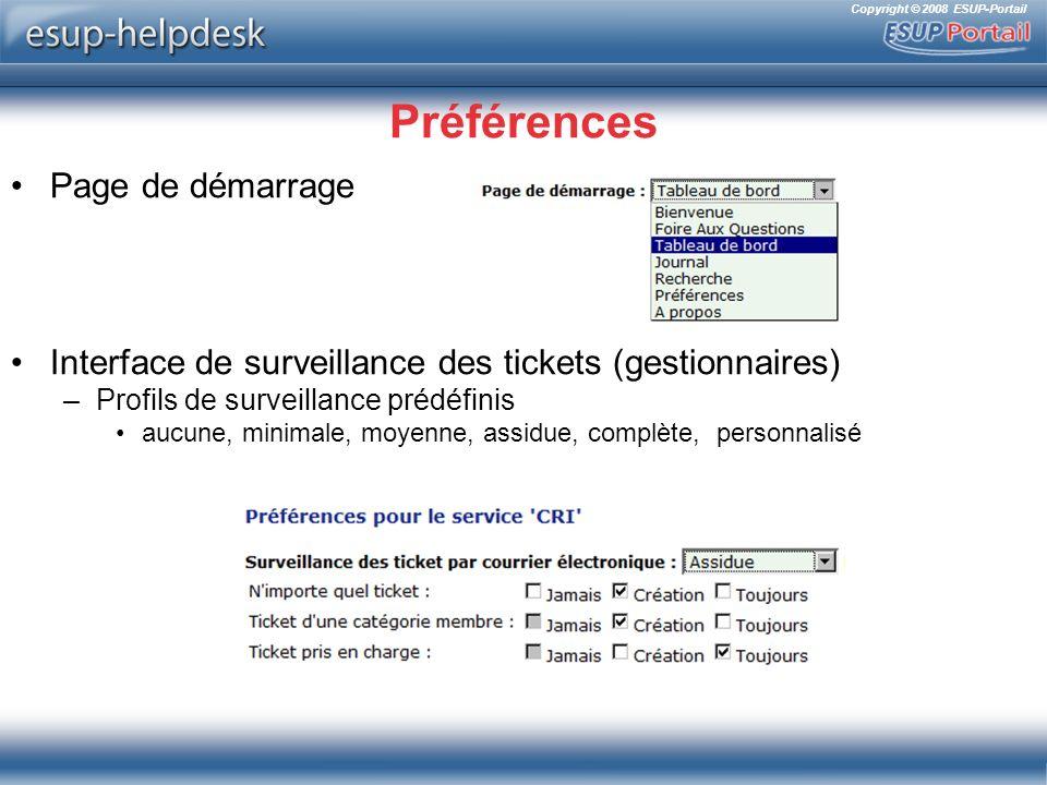 Copyright © 2008 ESUP-Portail Préférences Page de démarrage Interface de surveillance des tickets (gestionnaires) –Profils de surveillance prédéfinis aucune, minimale, moyenne, assidue, complète, personnalisé