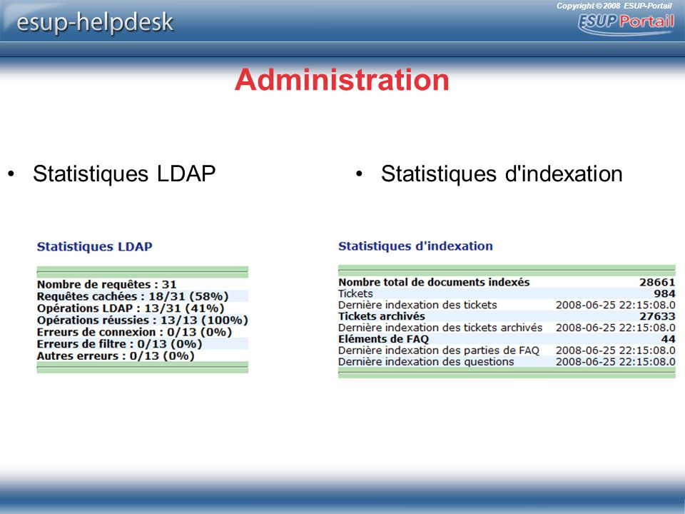 Copyright © 2008 ESUP-Portail Administration Statistiques LDAPStatistiques d'indexation