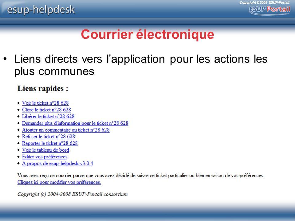 Copyright © 2008 ESUP-Portail Courrier électronique Liens directs vers lapplication pour les actions les plus communes