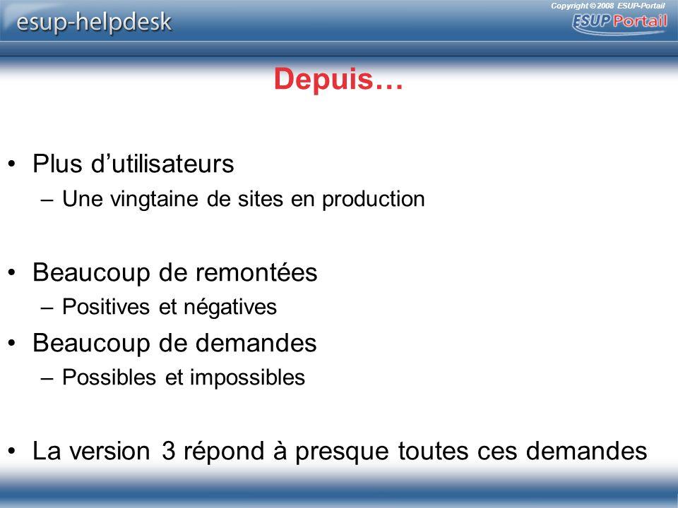 Copyright © 2008 ESUP-Portail Messages WYSIWYG Intégration de Fck Editor Les messages prédéfinis par les catégories peuvent également être formatés
