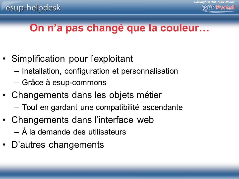 Copyright © 2008 ESUP-Portail Simplification pour lexploitant Installation Configuration Personnalisation Merci esup-commons !!!