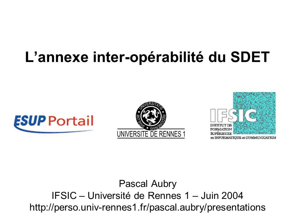 Lannexe inter-opérabilité du SDET Pascal Aubry IFSIC – Université de Rennes 1 – Juin 2004 http://perso.univ-rennes1.fr/pascal.aubry/presentations