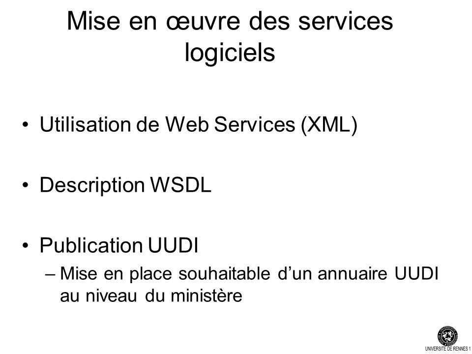 Mise en œuvre des services logiciels Utilisation de Web Services (XML) Description WSDL Publication UUDI –Mise en place souhaitable dun annuaire UUDI au niveau du ministère