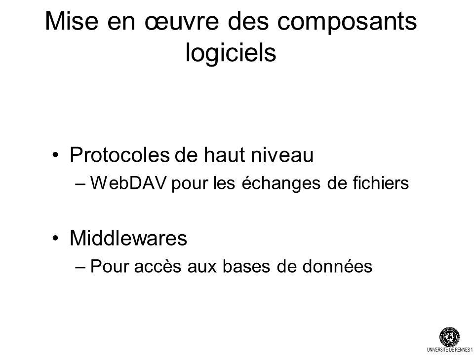 Mise en œuvre des composants logiciels Protocoles de haut niveau –WebDAV pour les échanges de fichiers Middlewares –Pour accès aux bases de données