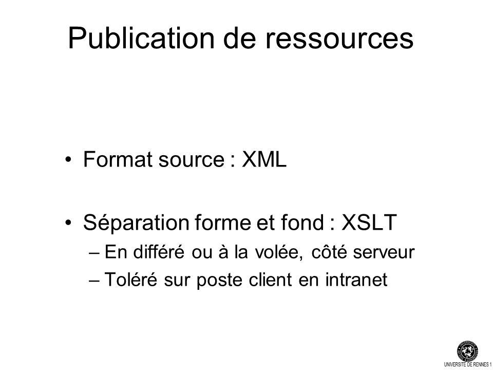 Publication de ressources Format source : XML Séparation forme et fond : XSLT –En différé ou à la volée, côté serveur –Toléré sur poste client en intranet