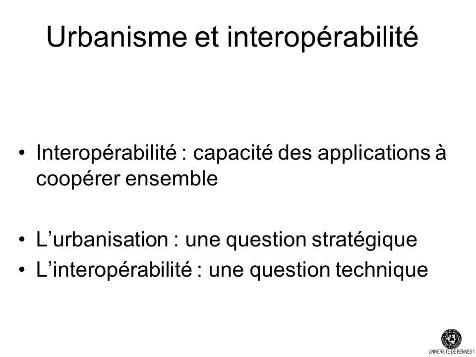 Urbanisme et interopérabilité Interopérabilité : capacité des applications à coopérer ensemble Lurbanisation : une question stratégique Linteropérabilité : une question technique