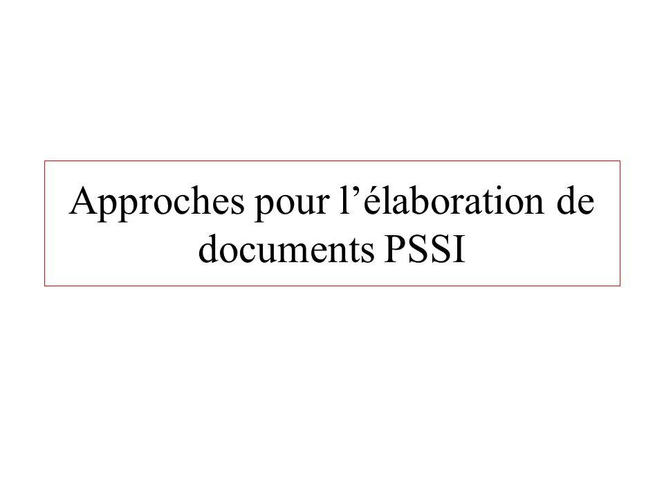 Approches pour lélaboration de documents PSSI