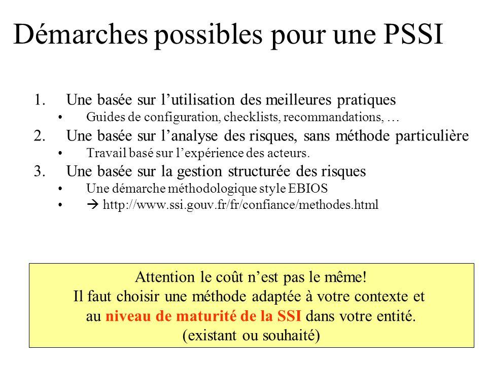 Démarches possibles pour une PSSI 1.Une basée sur lutilisation des meilleures pratiques Guides de configuration, checklists, recommandations, … 2.Une
